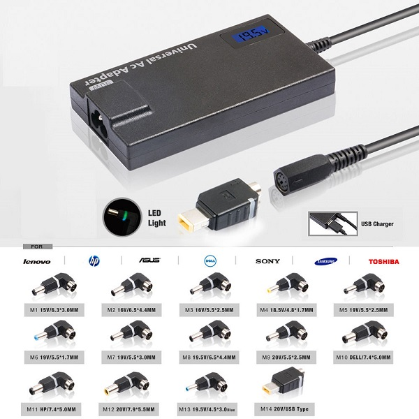 90W LCD Automatic Universal laptop AC Adapter Charger Power Supply Cord wire with 14 tips USB output